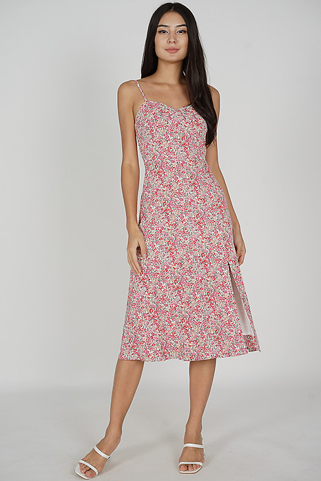 Lilith Slit Dress in Pink Floral