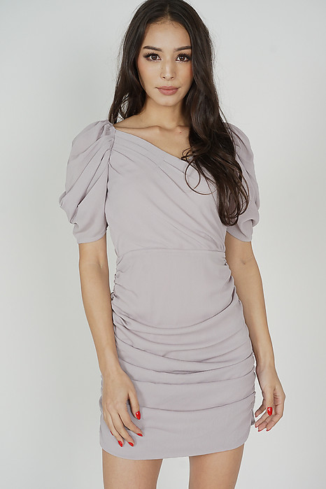 Yuka Ruched Dress in Grey - Arriving Soon