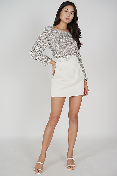 Volina Buttoned Skirt in White - Online Exclusive
