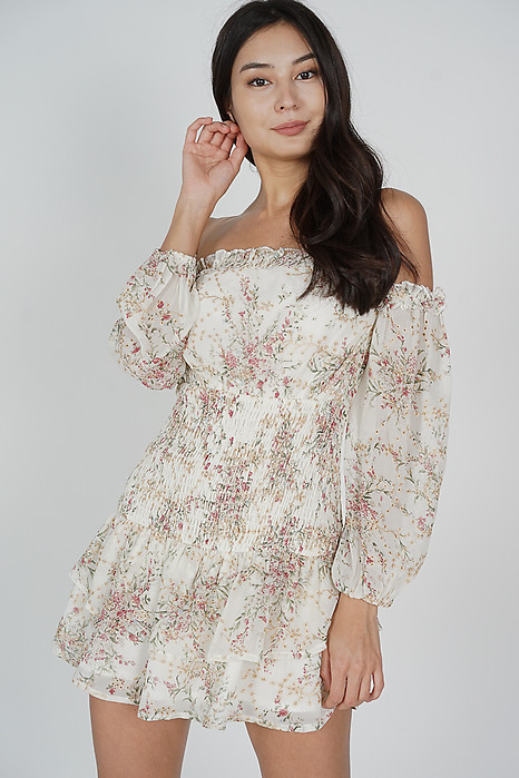 Dewna Frill Dress White Floral - Arriving Soon