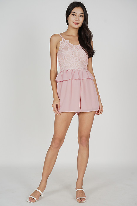 Balven Lace Romper in Pink - Arriving Soon