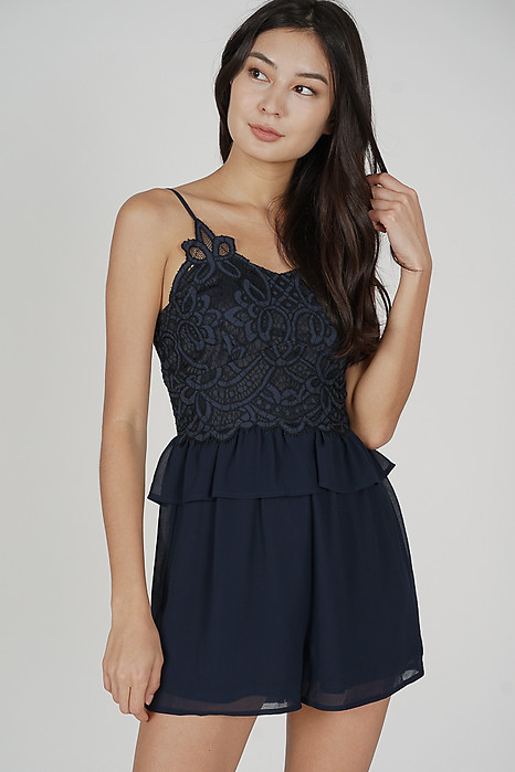 Balven Lace Romper in Midnight - Arriving Soon