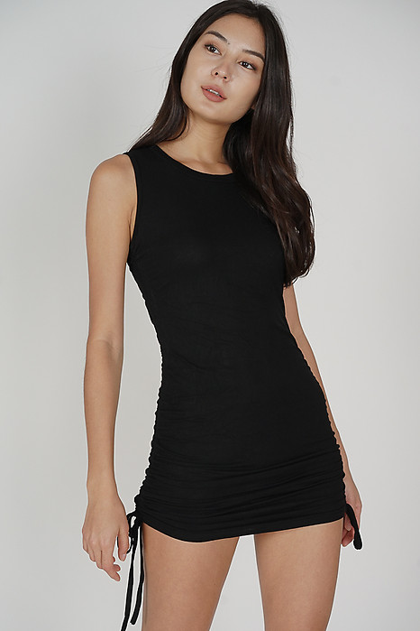 Ellie Ruched Dress in Black - Online Exclusive