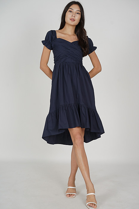 Odena Ruched Dress in Midnight - Arriving Soon