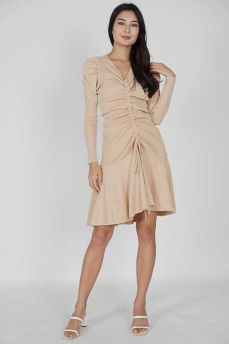 Cerys Gathered Front Dress in Nude - Online Exclusive