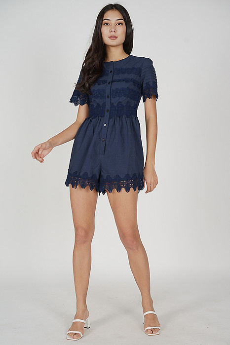 Zoni Crochet Romper in Midnight - Arriving Soon