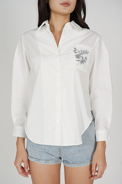 Ariza Embroidered Collared Top in White - Arriving Soon