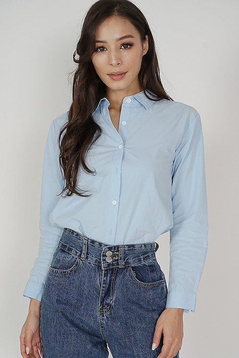 Kyura Collared Top in Light Blue - Online Exclusive