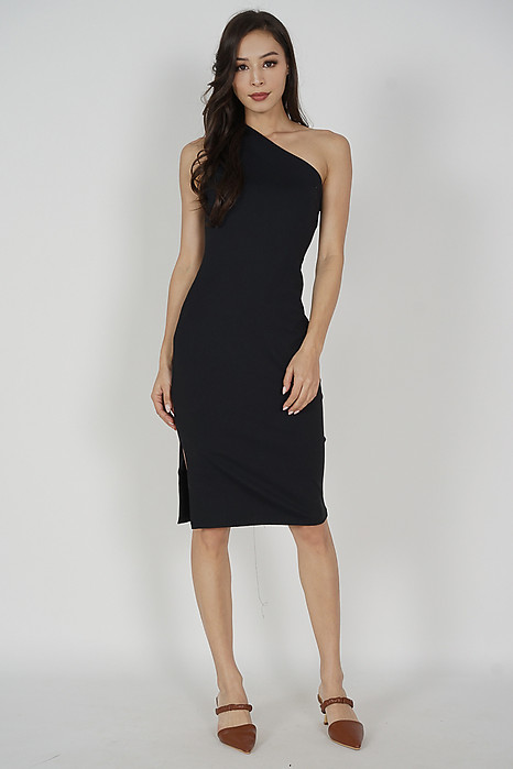 Venni Toga Dress in Black - Arriving Soon