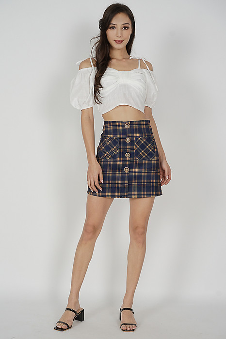 Ryeni Checkered Skorts in Navy - Online Exclusive