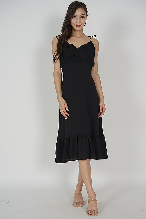 Sheni Gathered Dress in Black - Arriving Soon