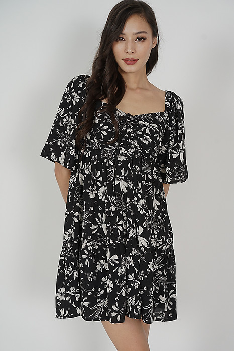 Richie Gathered Dress in Black Floral - Arriving Soon