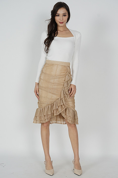 Viviana Lace Skirt in Nude - Arriving Soon