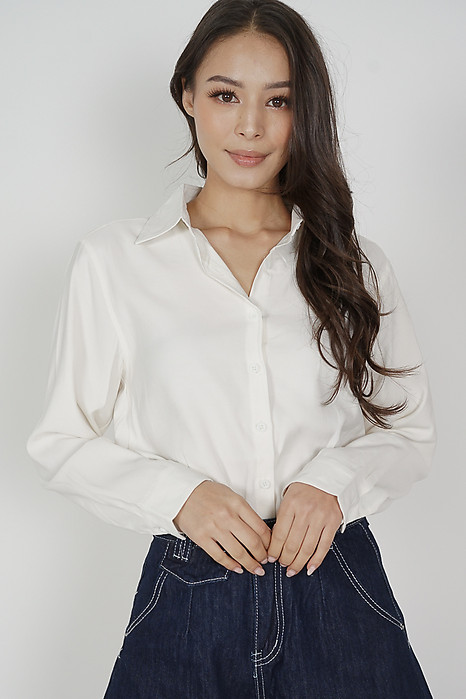 Luther Collared Top in White - Online Exclusive