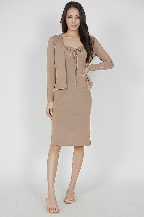 Kassi Gathered Front Dress in Khaki - Online Exclusive