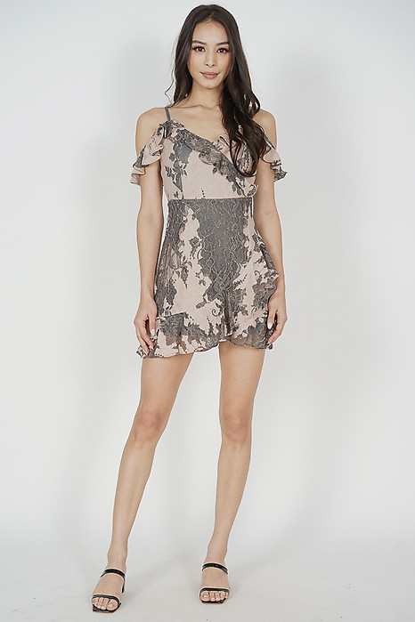 Danika Ruffled Dress in Nude Grey - Arriving Soon