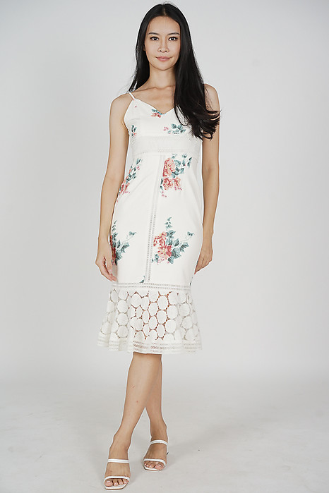 Bellari Lace Dress in White Red Floral - Arriving Soon
