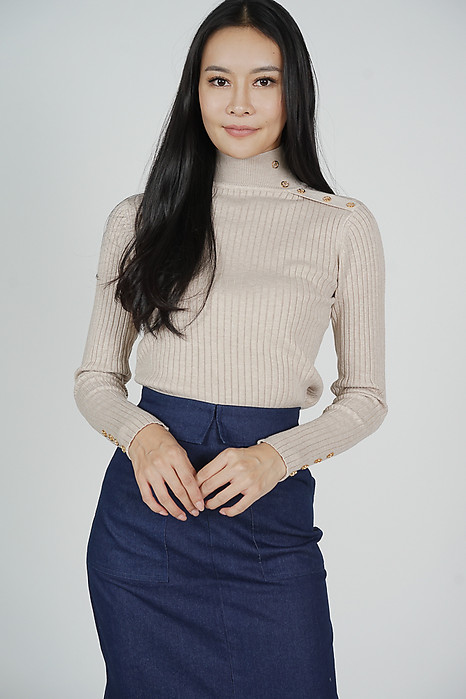 Watalia Sleeved Top in Beige - Online Exclusive