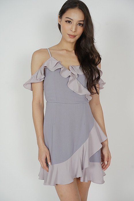Hilda Contrast Frill Dress in Lilac - Arriving Soon