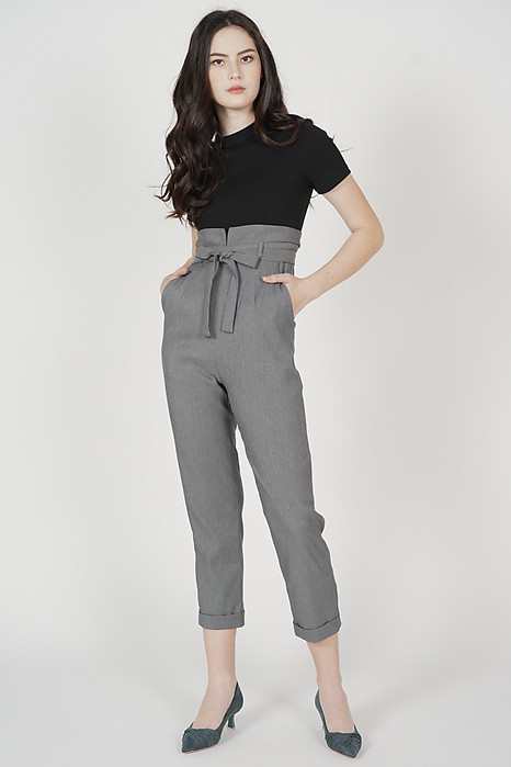 Javira Contrast Jumpsuit in Black Grey
