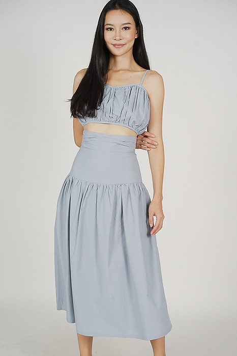 Lalin Drop-waist Skirt in Ash Blue - Arriving Soon