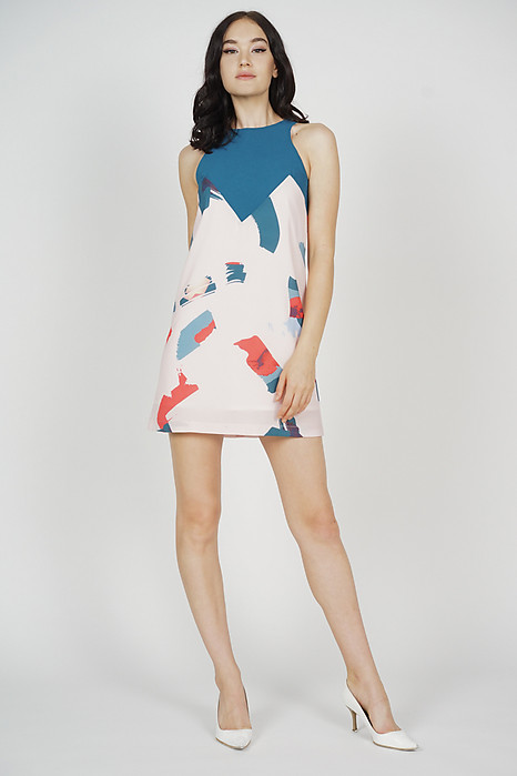 Emiri Contrast Dress in Brushstrokes - Arriving Soon