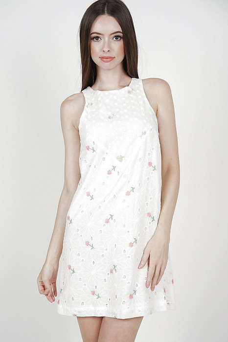 Bloom Shift Dress in Floral Eyelet - Arriving Soon