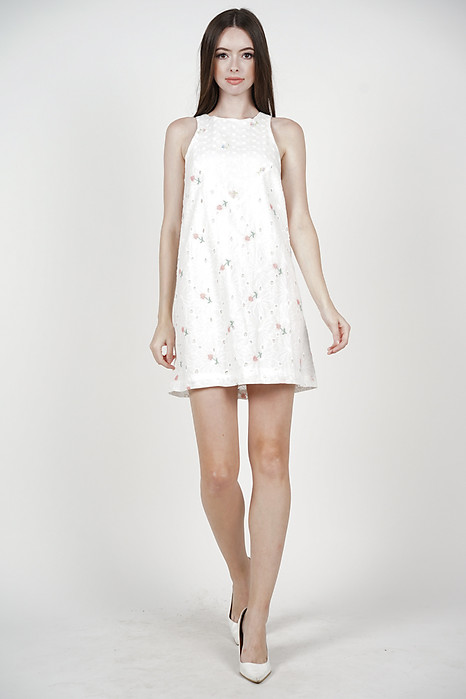 Bloom Shift Dress in Floral Eyelet