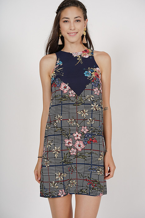 Bloom Shift Dress in Navy Checks Floral