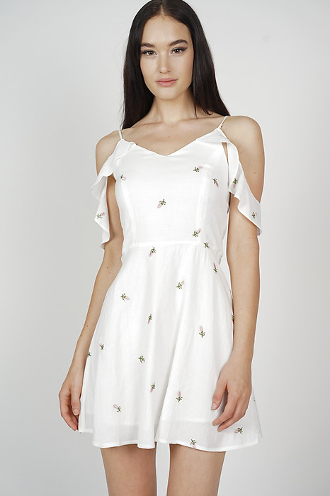 Frolia Cami Dress in White Mini Floral