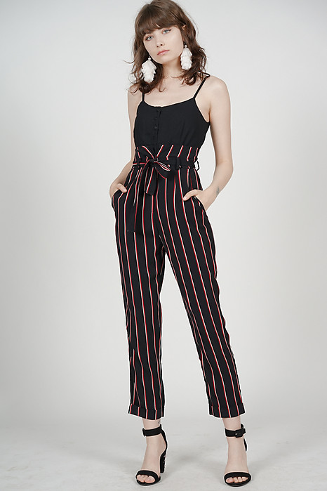 Self-Tie Cami Jumpsuit in Black Stripes