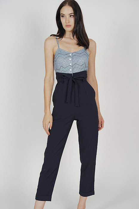 Self-Tie Cami Jumpsuit in Ash Blue Midnight