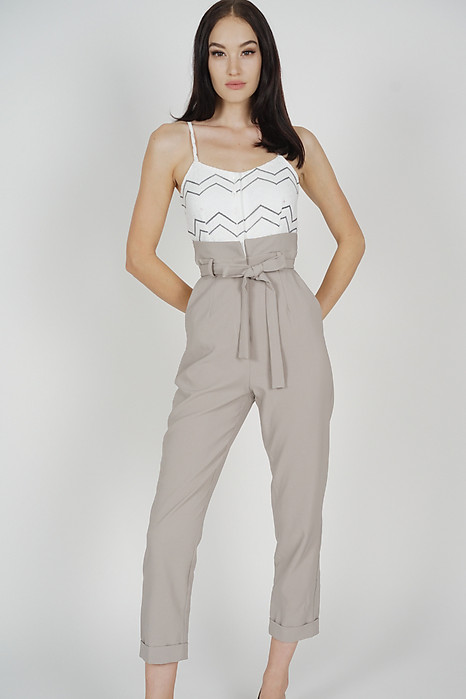 Self-Tie Cami Jumpsuit in White Grey