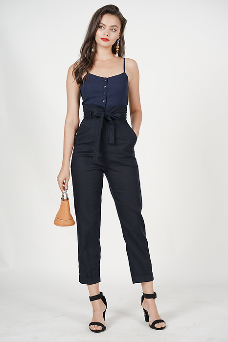 Self-Tie Cami Jumpsuit in Midnight
