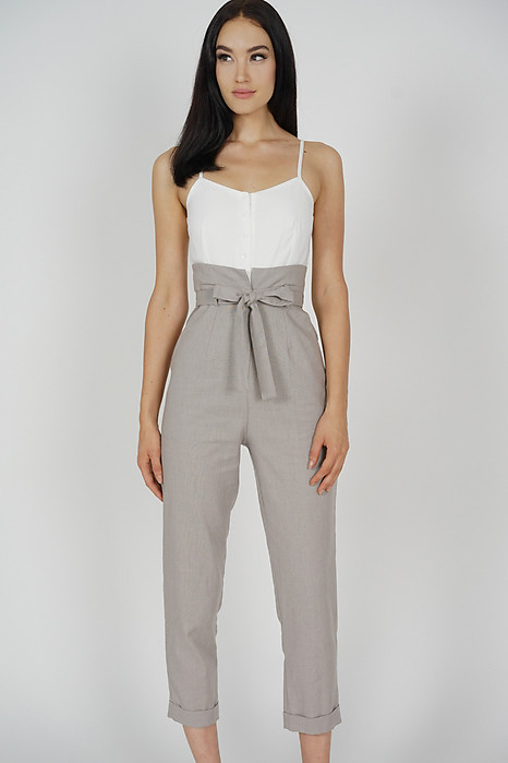 Self-Tie Cami Jumpsuit in Taupe