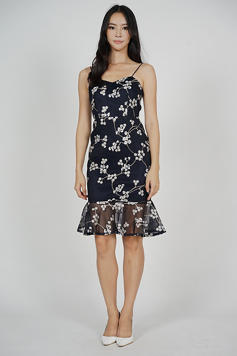 Gloria Mermaid Dress in Midnight Floral
