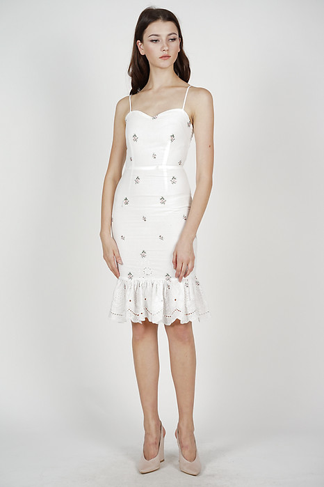 Gloria Mermaid Dress in White Floral - Arriving Soon