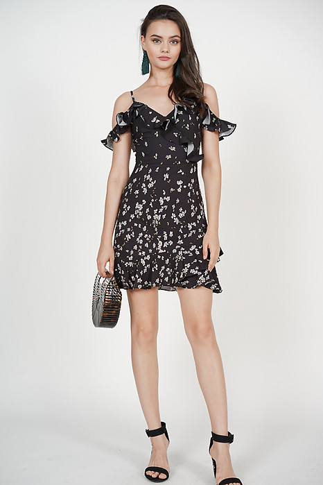 Frill Cami Dress in Black Mini Floral