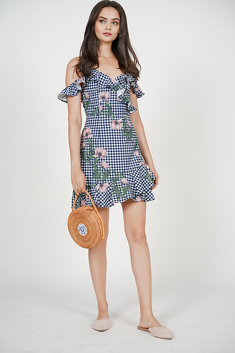Frill Cami Dress in Navy Checks Floral