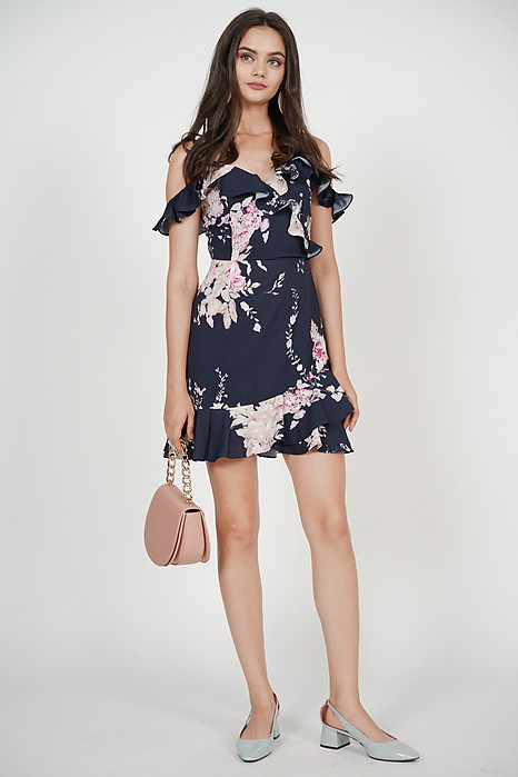 Frill Cami Dress in Navy Floral