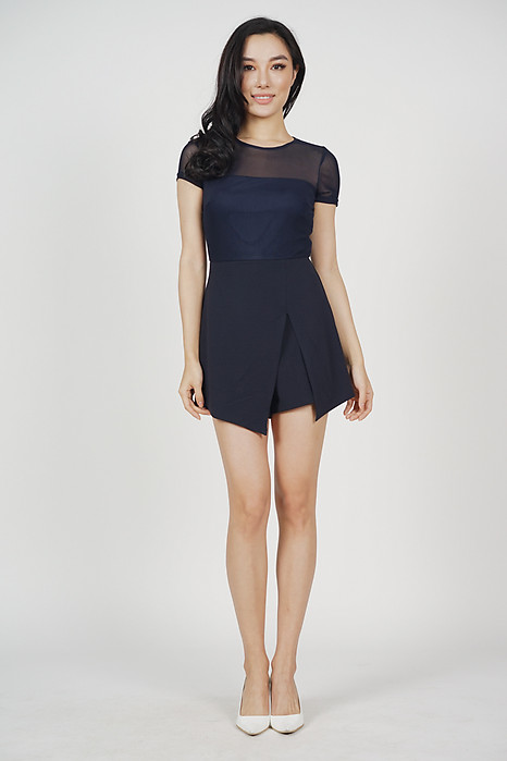 Slit Cut-Out Romper in Midnight