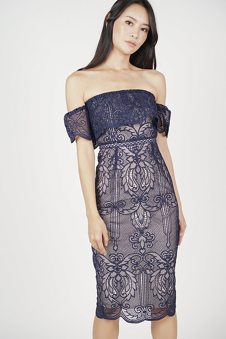 Lace Flounce Dress in Navy