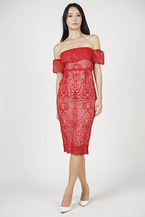 Lace Flounce Dress in Red