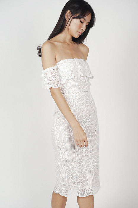 Lace Flounce Dress in White