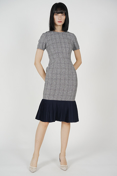 Two-Tone Dress in Grey Checks - Arriving Soon