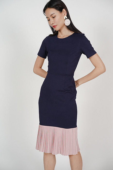 Two-Tone Dress in Navy