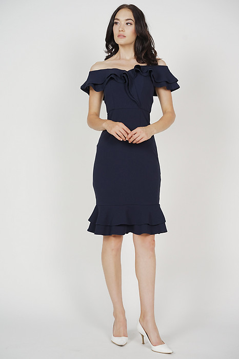 Flounce Mermaid Dress in Navy