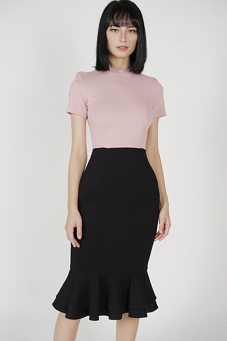 Mermaid Bodycon Dress in Pink Black