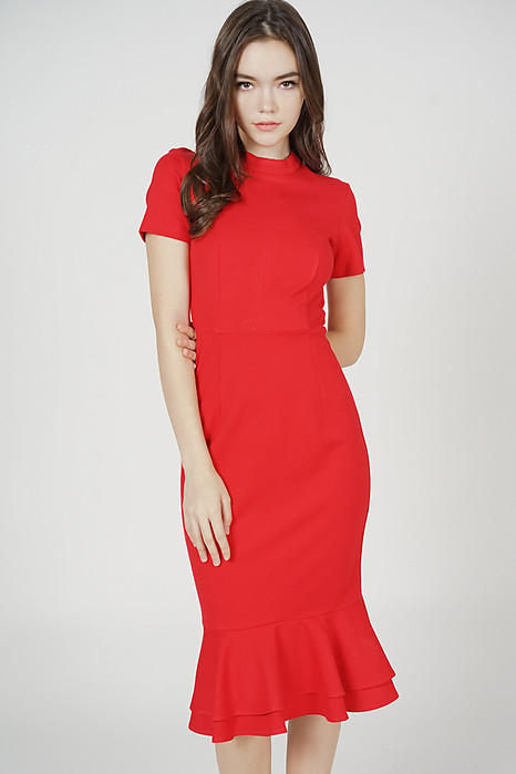 Mermaid Bodycon Dress in Red