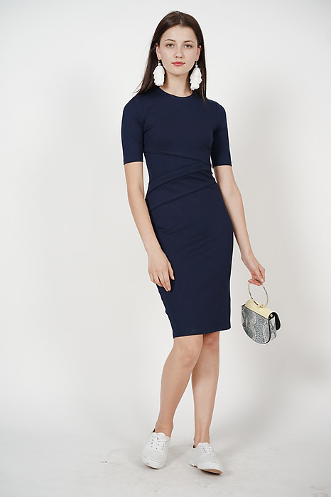 Paneled Bodycon Dress in Midnight